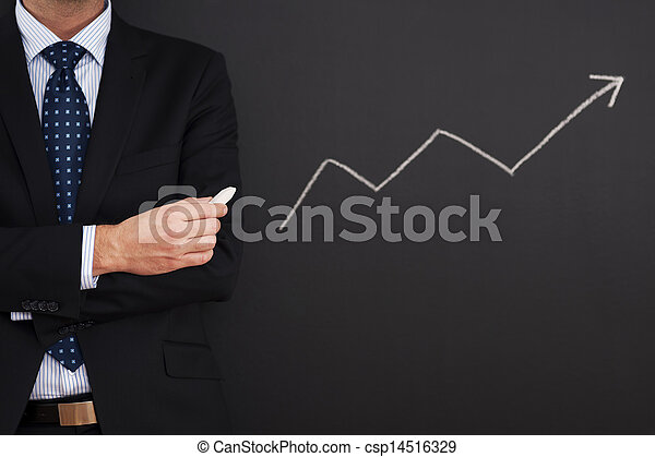Businessman standing close to arrow sign  - csp14516329