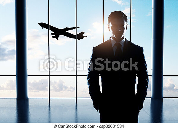 businessman standing in airport - csp32081534