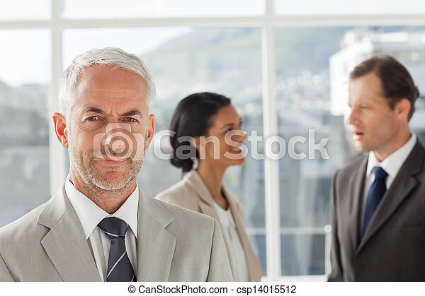 Businessman standing in front of colleagues speaking together - csp14015512