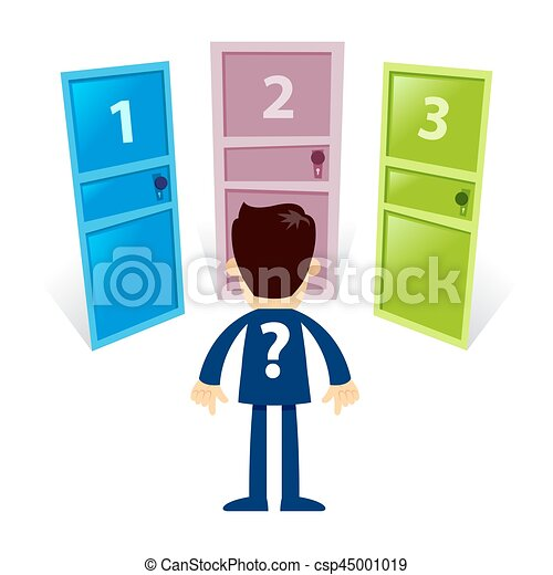 Businessman Standing In Front Of Three Different Door - csp45001019