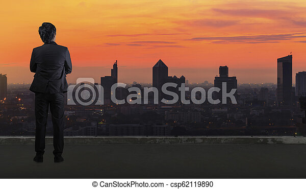 Businessman standing in Office building looking at Cityscape skyline night light - csp62119890