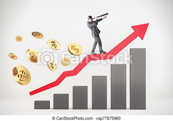 Businessman standing on abstract arrow with stock chart - csp77675960