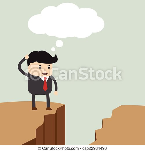 Businessman standing on the cliff a - csp22984490