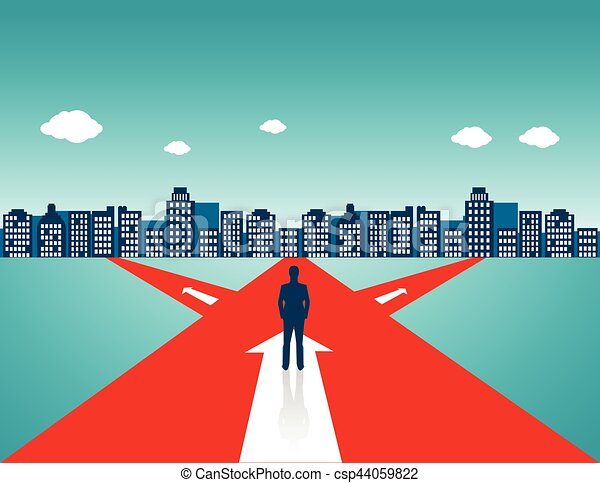 Businessman standing on the road - csp44059822