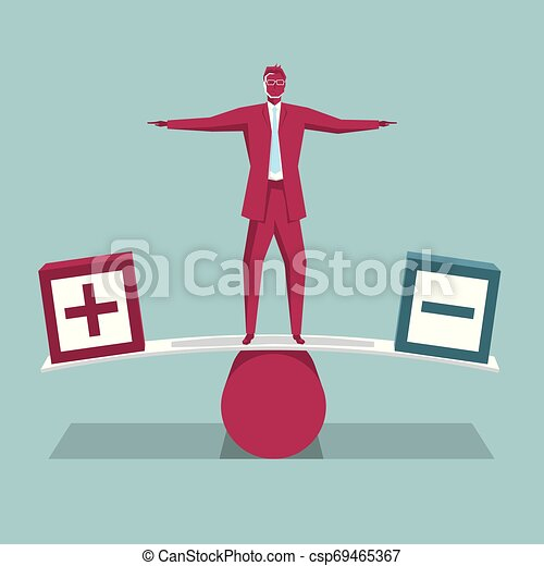 Businessman standing on the seesaw. Isolated on blue background. - csp69465367