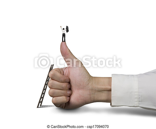 Businessman standing on top of thumb with 2 hands up - csp17094070