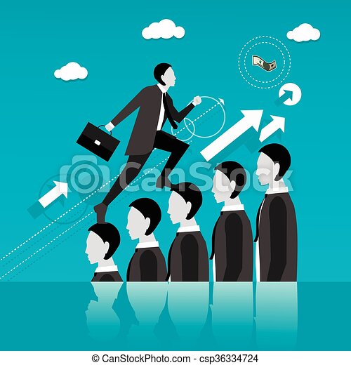 Businessman step on other people head in the way to success. Business concept vector illustration. - csp36334724
