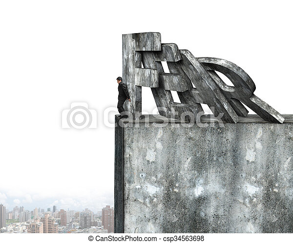 Businessman stopping domino of red fear word falling - csp34563698