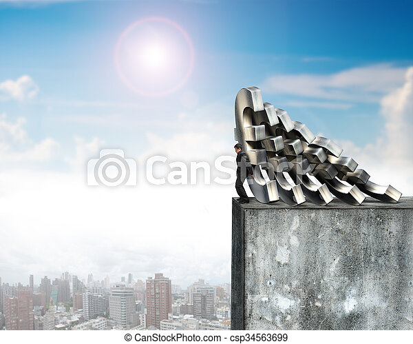 Businessman stopping falling Euro money with concrete wall - csp34563699