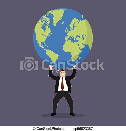 Businessman struggling to carry globe - csp56823387