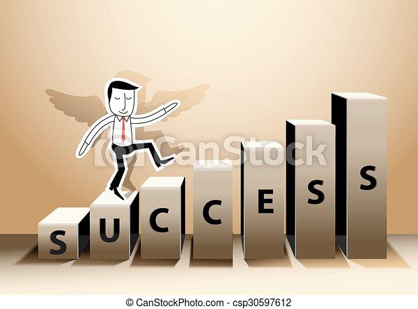 Line Art Vector Illustrator : Businessman success paper pop up eps vector illustrator