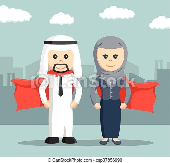 businessman super and businesswoman - csp37856990