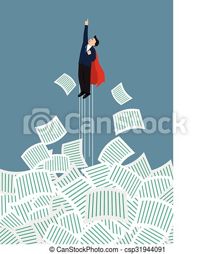 Businessman superhero get away from a lot of documents - csp31944091