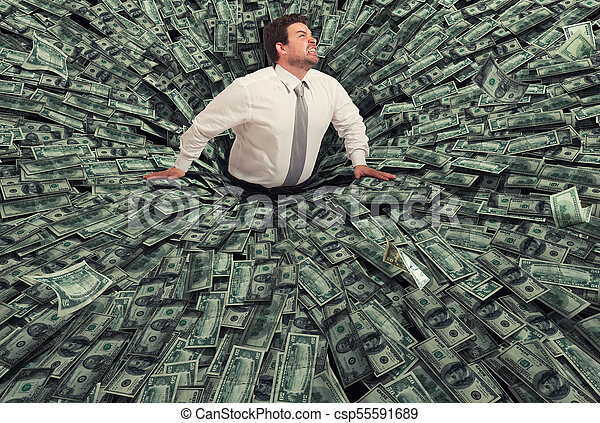 Businessman swallowed by a black hole of money. Concept of failure and economic crisis - csp55591689