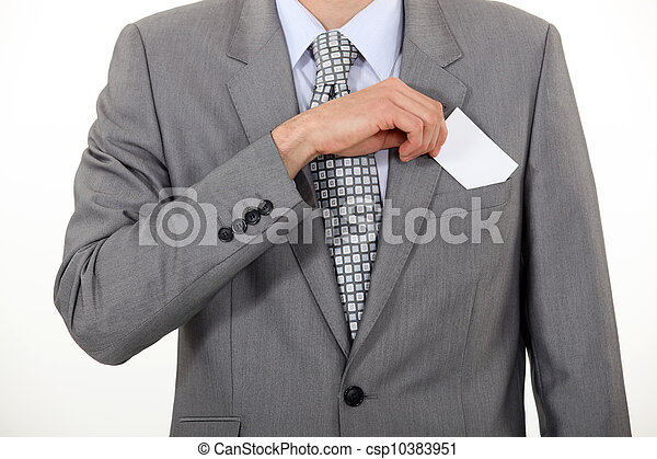 businessman taking out business card - csp10383951