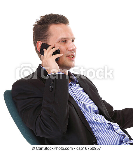 businessman talking on mobile phone isolated - csp16750957