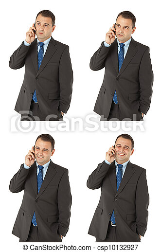 Businessman talking on the phone different expressions - csp10132927