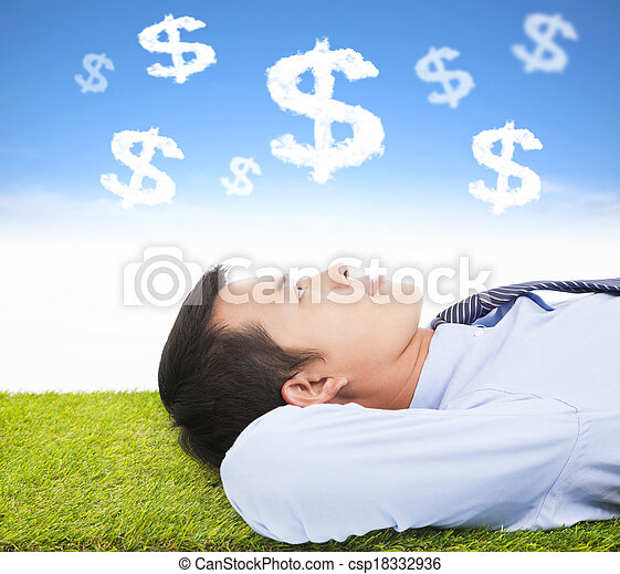 businessman  thinking money and goal on a meadow - csp18332936
