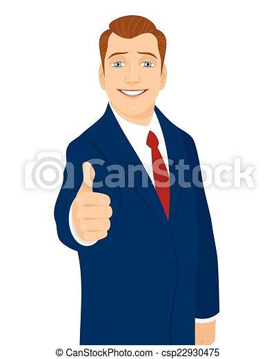 Businessman thumb up gesture - csp22930475