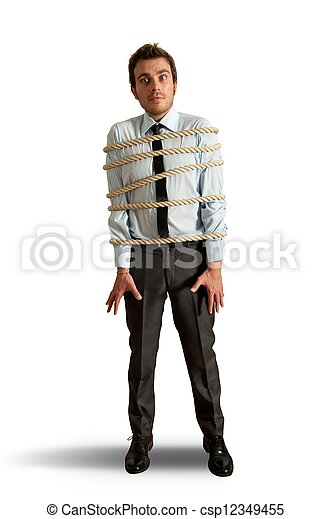 Businessman tied up with rope - csp12349455