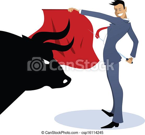 Businessman torero fighting a bull - csp16114245