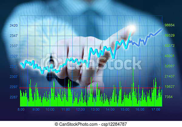 businessman touch virtual stock - csp12284787