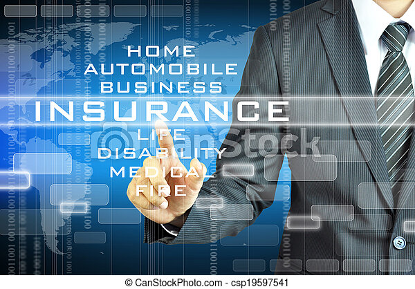 Businessman touching INSURANCE sign on virsual screen - csp19597541