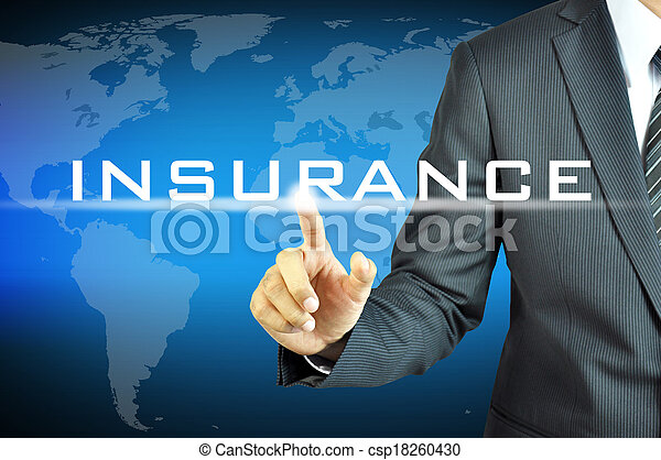 Businessman touching INSURANCE sign on virtual screen - csp18260430