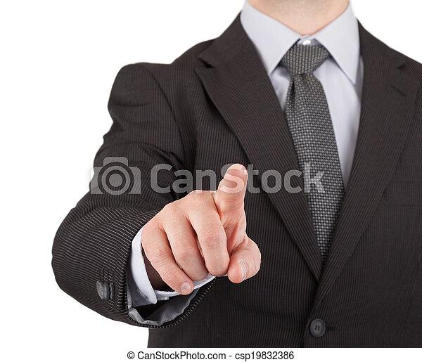 Businessman touching virtual screen or button - csp19832386
