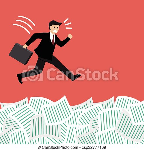 Businessman under a lot of documents - csp32777169