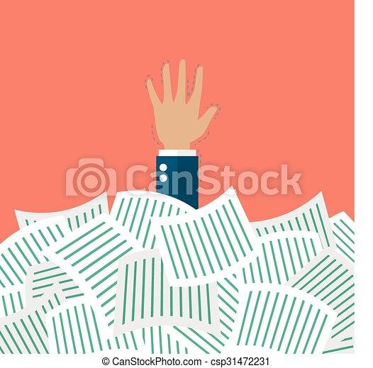 Businessman under a lot of documents - csp31472231