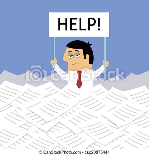 Businessman under papers - csp20875444