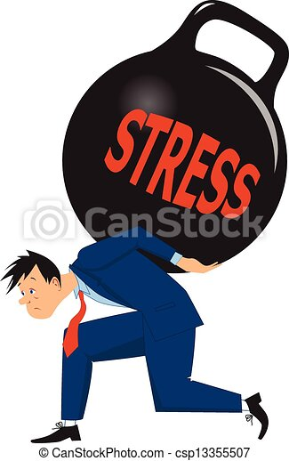 businessman under stress depressed man carrying a heavy load of rh canstockphoto com stressed clip art free stress clipart