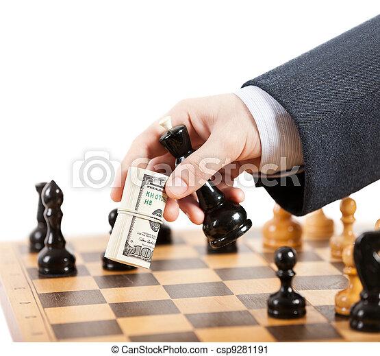 Businessman unfair playing chess game - csp9281191
