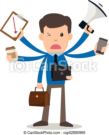 businessman unhappy with multitasking and multi skill clip art rh canstockphoto com running businessman clipart busy businessman clipart