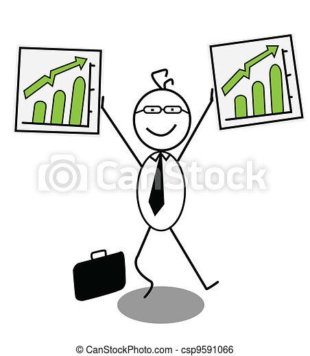businessman Up chart  - csp9591066