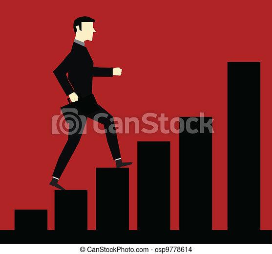 businessman Up chart - csp9778614