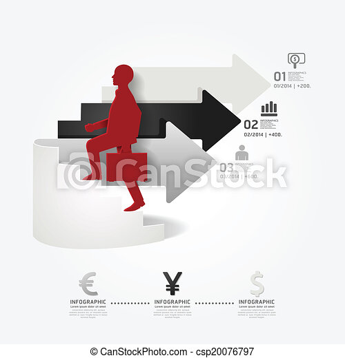 businessman up the Arrow Ladder paper cut style template  / can be used for infographics graphic or website layout vector - csp20076797