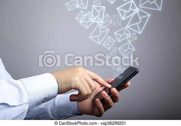 Businessman Use Smart Phone With Email Icons - csp36299201