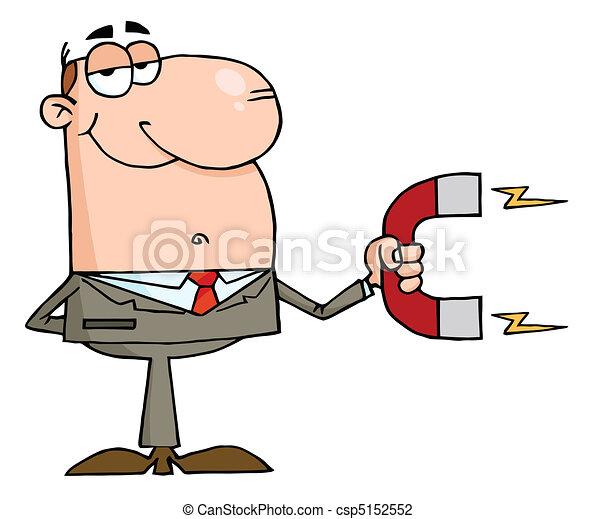 Businessman Using A Magnet  - csp5152552