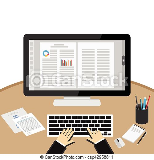 Businessman Using Computer At Desk. Word processor application. - csp42958811