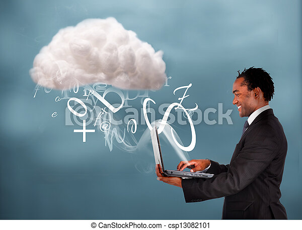 Businessman using laptop to connect - csp13082101