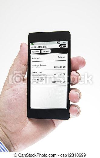 Businessman views mobile banking details - csp12310699