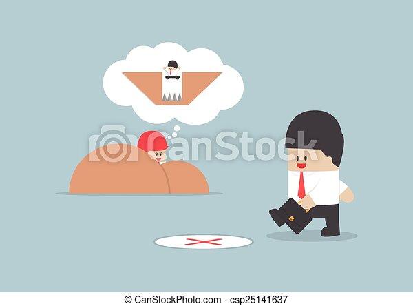 Businessman walking into a trap, Business concept - csp25141637