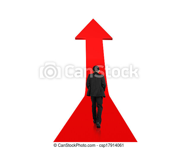 Businessman walking on growing red arrow - csp17914061