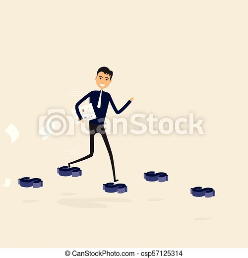 Businessman walking on the blue dollar sign. Way of success. Concept for success. Businessman walking on the street of success. Businessman on the road to success in business. Business vector illustration - csp57125314