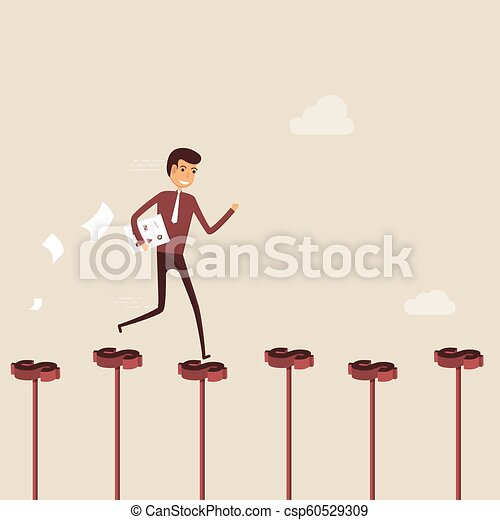 Businessman walking on the red dollar sign. Way of success. Concept for success. Businessman walking on the street of success. Businessman on the road to success in business. Business vector illustration - csp60529309