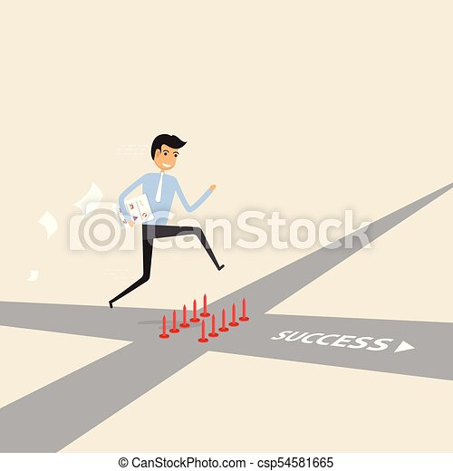 Businessman walking on the street of success with red spike sign. Way of success. - csp54581665