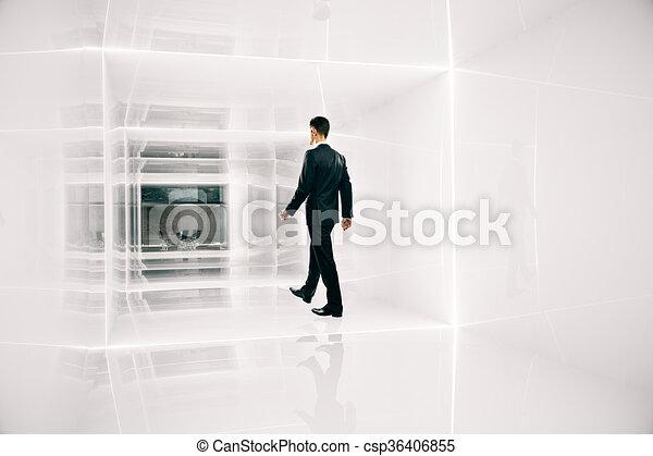 Businessman walking to office - csp36406855