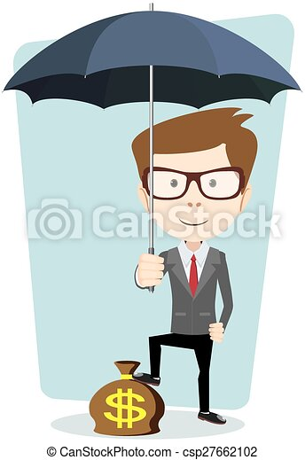 Businessman with a bag of currency, vector illustration - csp27662102